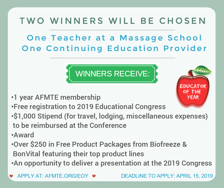 2019 AFMTE and Biofreeze Educator of the Year Applications